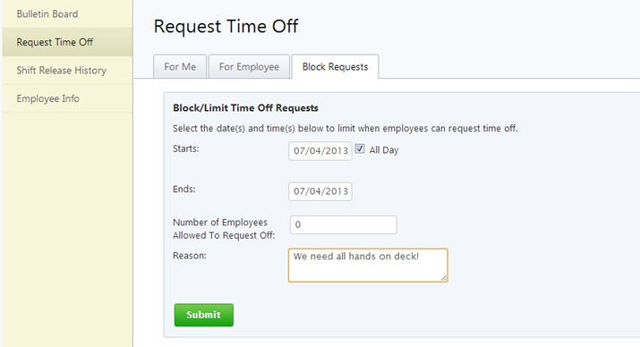 block time off requests