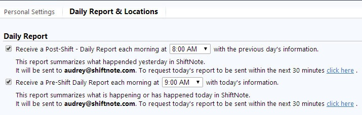 pre shift daily report