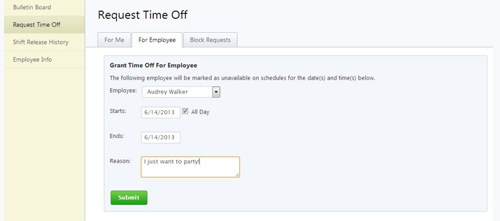 request time off for employee