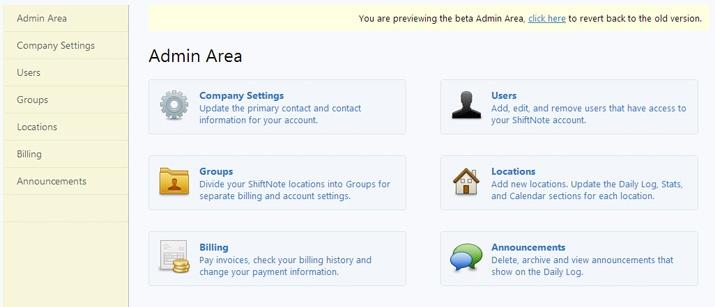 New admin area